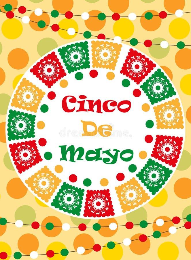 Cinco de Mayo kartka z pozdrowieniami, szablon dla ulotki, plakat, zaproszenie Meksykański świętowanie z tradycyjnymi symbolami