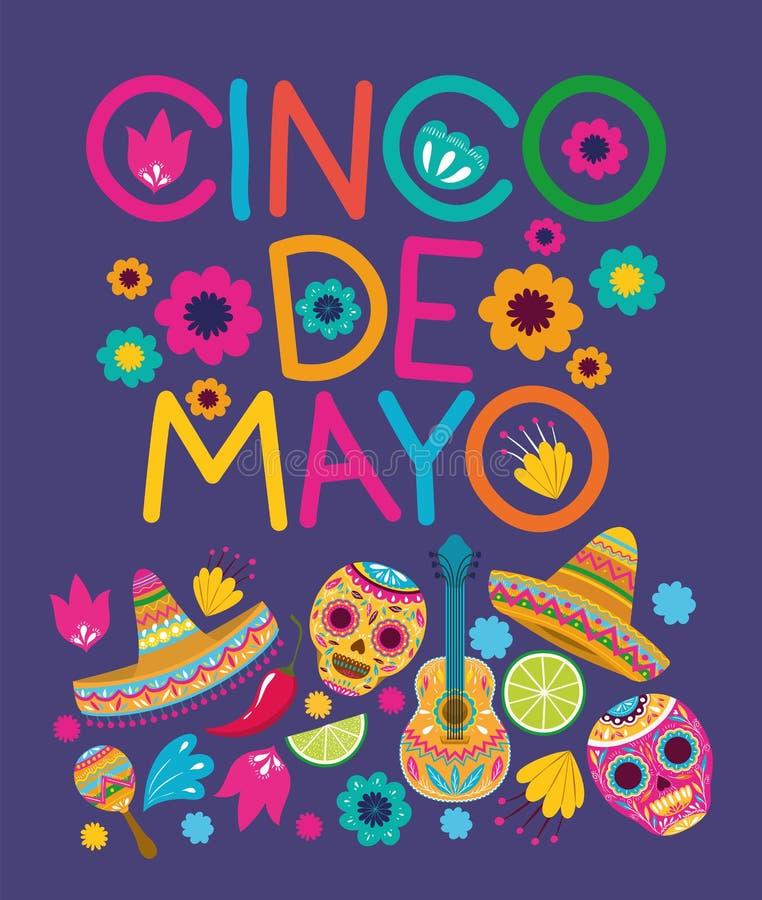 Cinco de Mayo karty wzór ilustracji