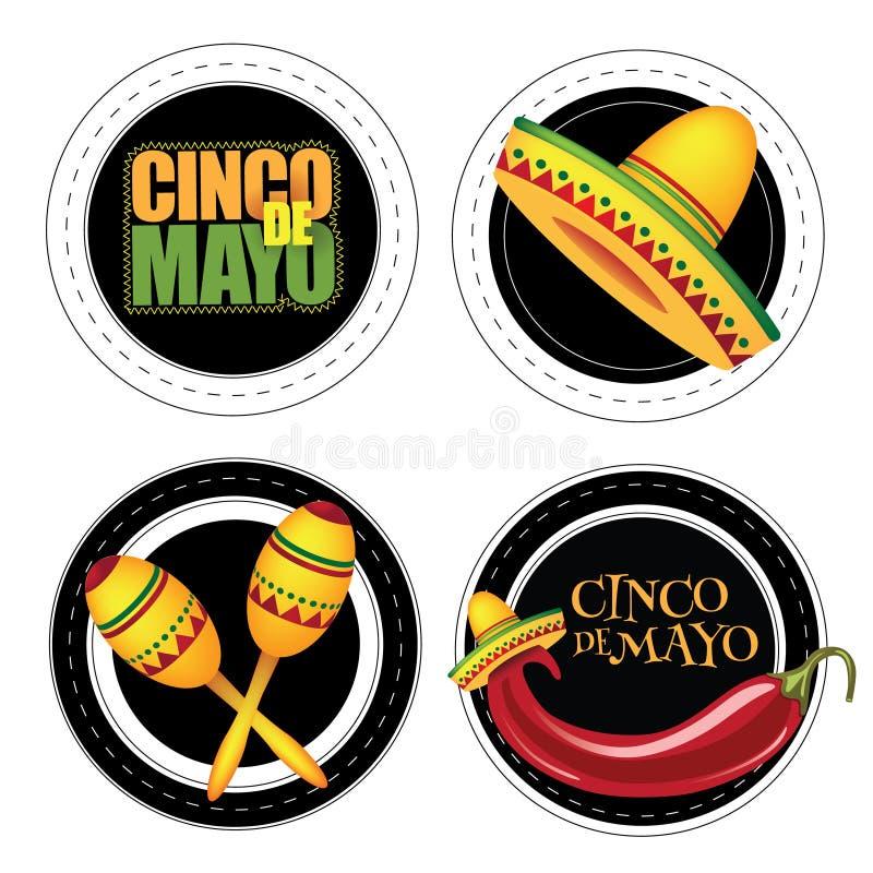 Cinco De Mayo klistermärkear eller emblem stock illustrationer