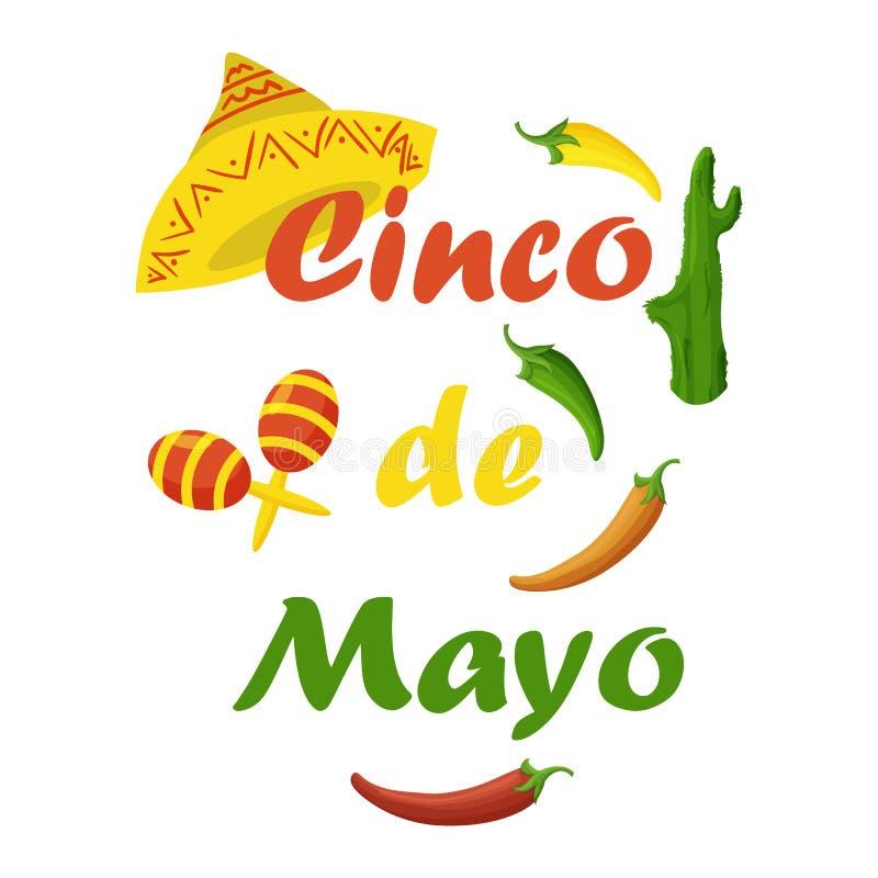 Cinco de Mayo kolorowy ?wi?teczny t?o z przedmiotami i symbolami royalty ilustracja