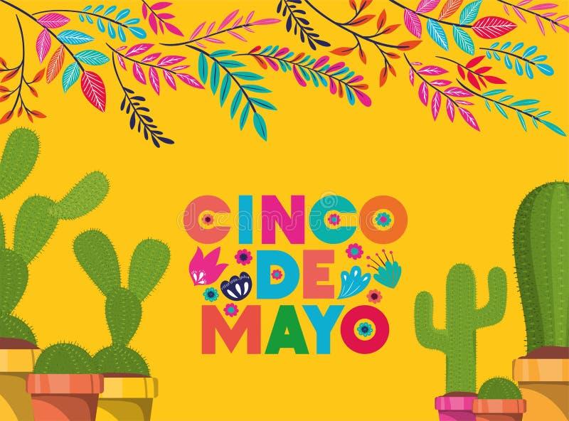 Cinco de mayo kort med blommor och kaktuns stock illustrationer