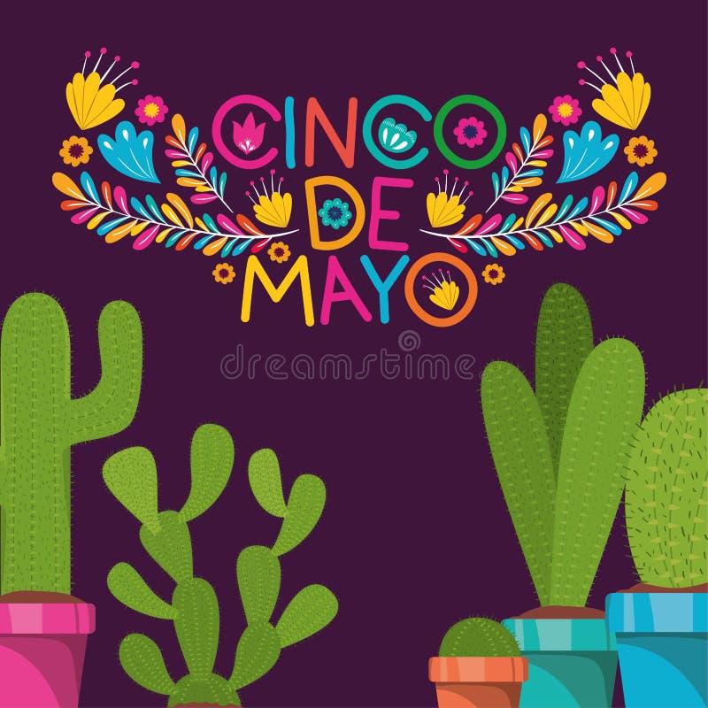 Cinco de mayo kort med blommor och kaktuns vektor illustrationer