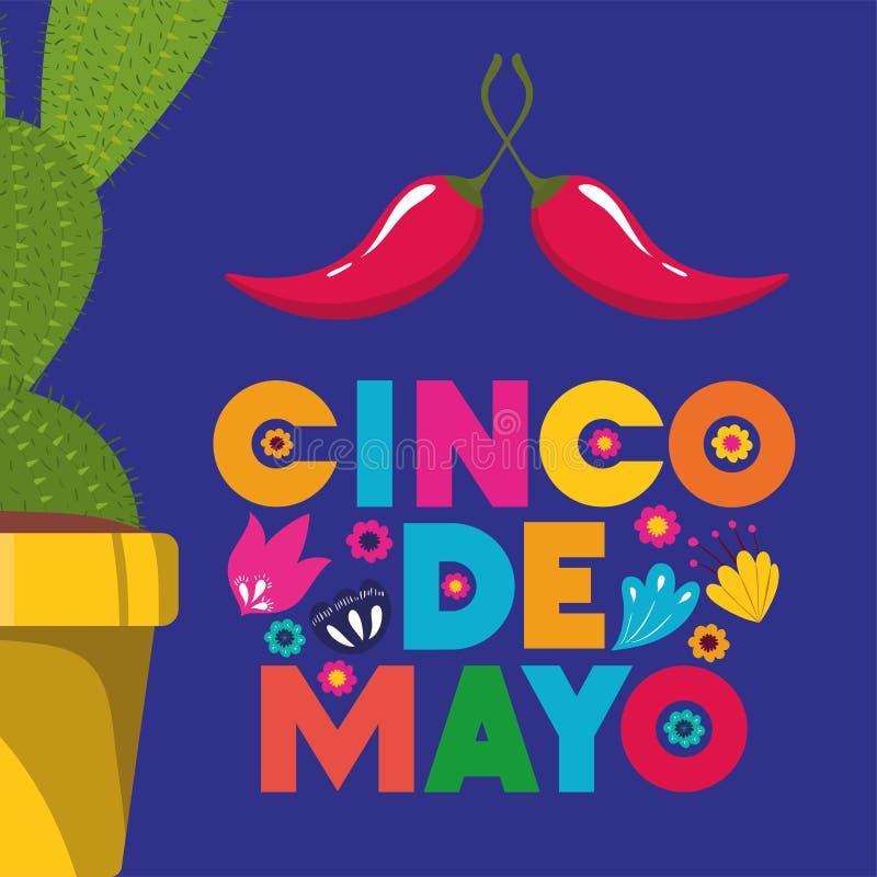 Cinco de mayo kort med kaktuns och chilipeppar stock illustrationer
