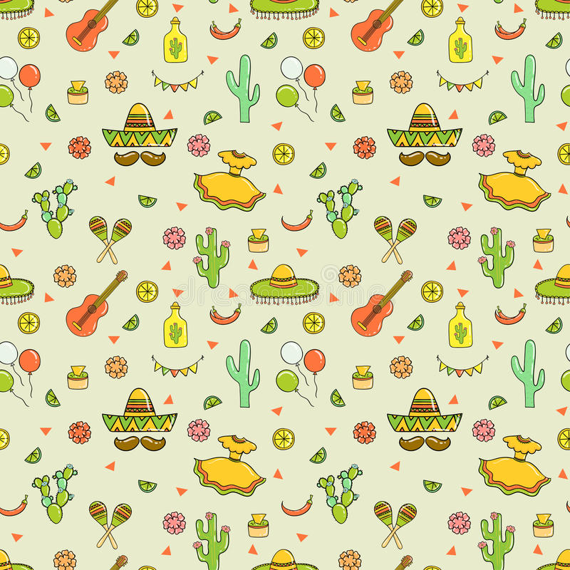Cinco de Mayo kwinta Maja bezszwowy wzór zdjęcie royalty free