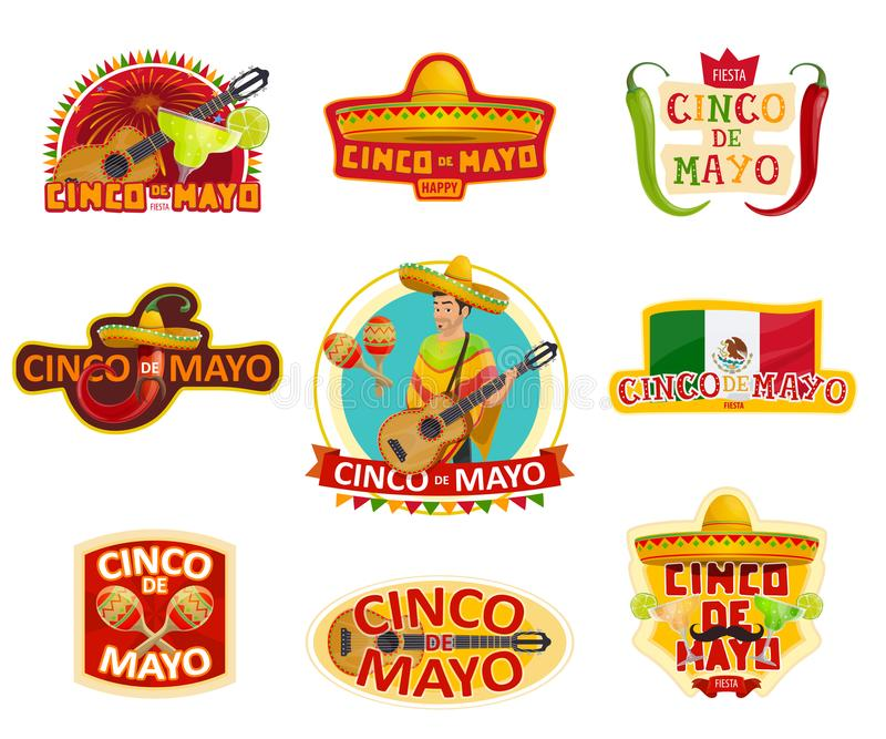 Cinco de Mayo label for Mexican holiday party vector illustration