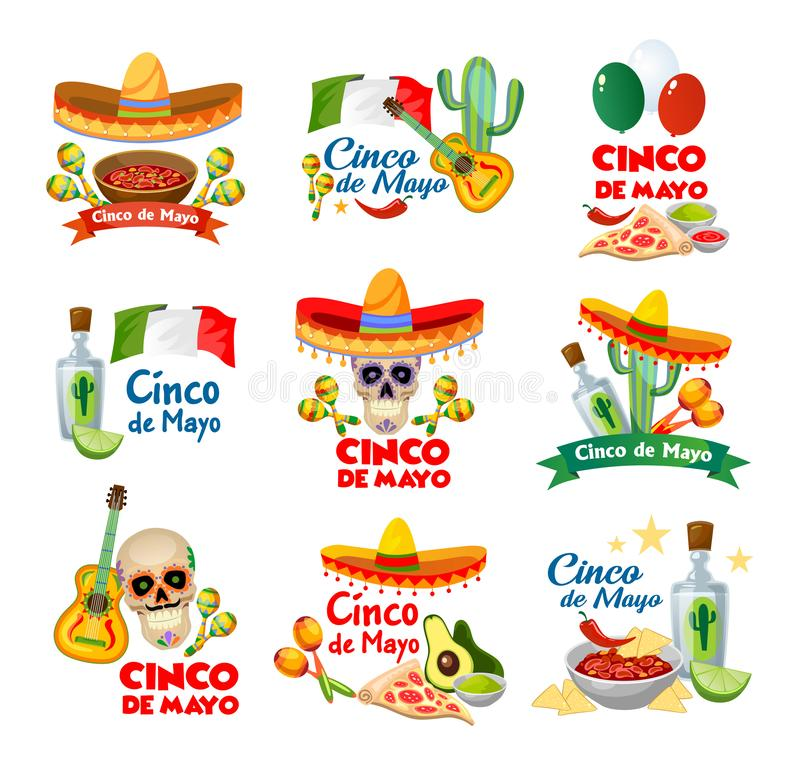 Cinco de mayo labels with traditional mexican food and decorations. Vector illustration. royalty free illustration