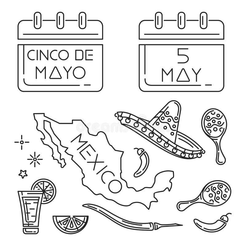 Cinco de mayo linje symbolsuppsättning royaltyfri illustrationer