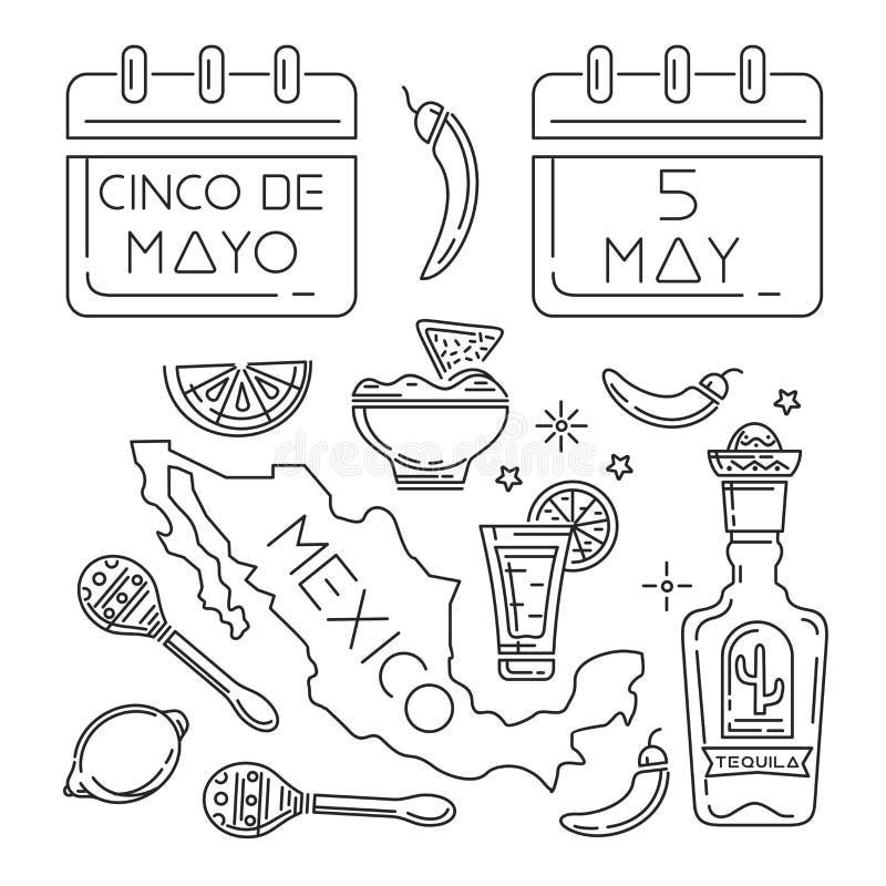 Cinco de mayo linje symbolsuppsättning vektor illustrationer
