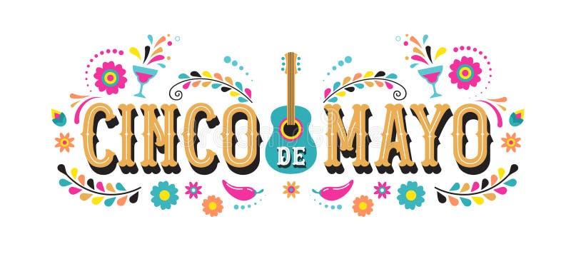 Cinco de Mayo - 5. Mai, Bundesfeiertag in Mexiko Fiestafahnen- und -plakatdesign mit Flaggen