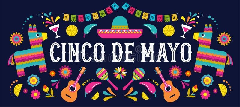 Cinco de Mayo - Maj 5, federal ferie i Mexico Den Fiestabanret och affischen planlägger med flaggor, blommor, garneringar royaltyfri illustrationer