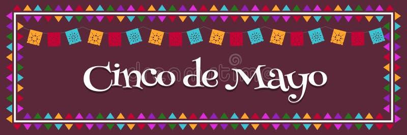Cinco de Mayo, Maja 5 Meksyk Federacyjny Wakacyjny Plakatowy sztandar z flaga wektoru ilustracją - ilustracji