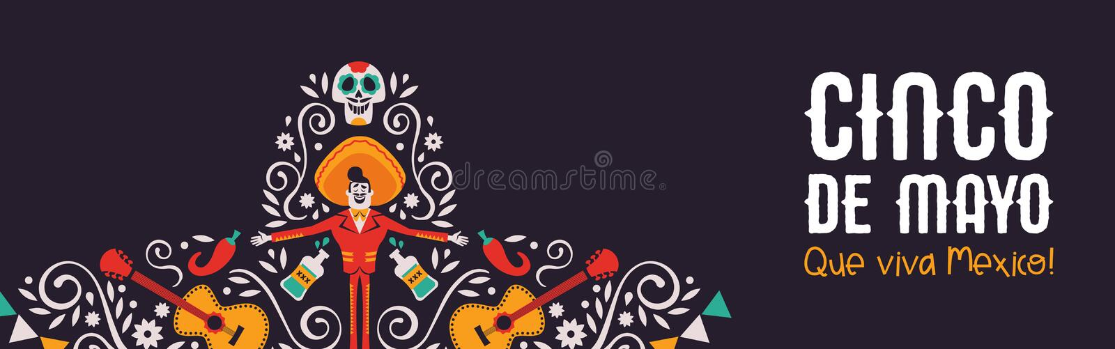 Cinco de Mayo mariachi hat banner of culture icons. Happy Cinco de Mayo web banner illustration for mexico independence celebration. Big mexican hat with vector illustration
