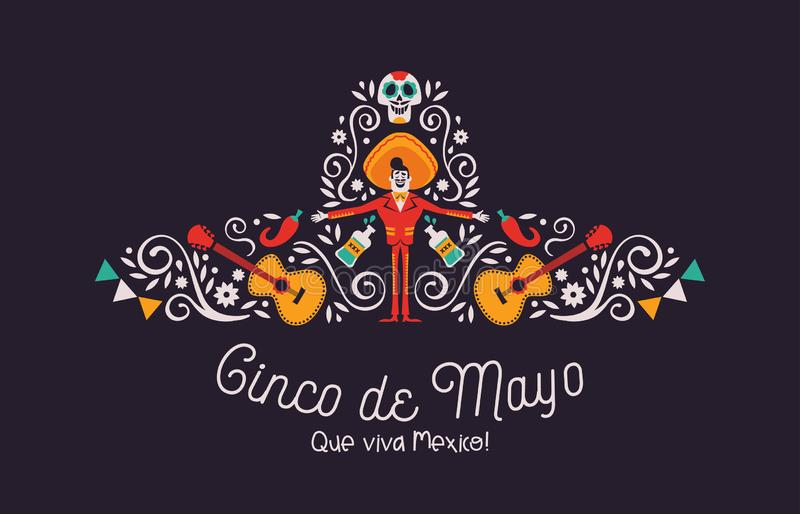 Cinco de Mayo mariachi hat card with culture icons. Happy Cinco de Mayo greeting card illustration for mexico independence celebration. Big mexican hat with royalty free illustration