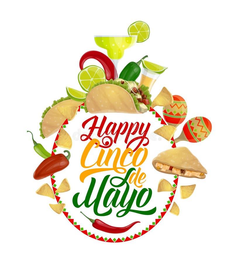 Cinco de Mayo mat, drink Mexicanskt ferieparti stock illustrationer