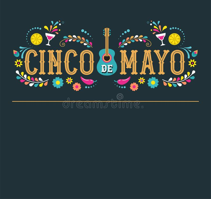 Cinco de Mayo - May 5, federal holiday in Mexico. Fiesta banner and poster design with flags stock illustration