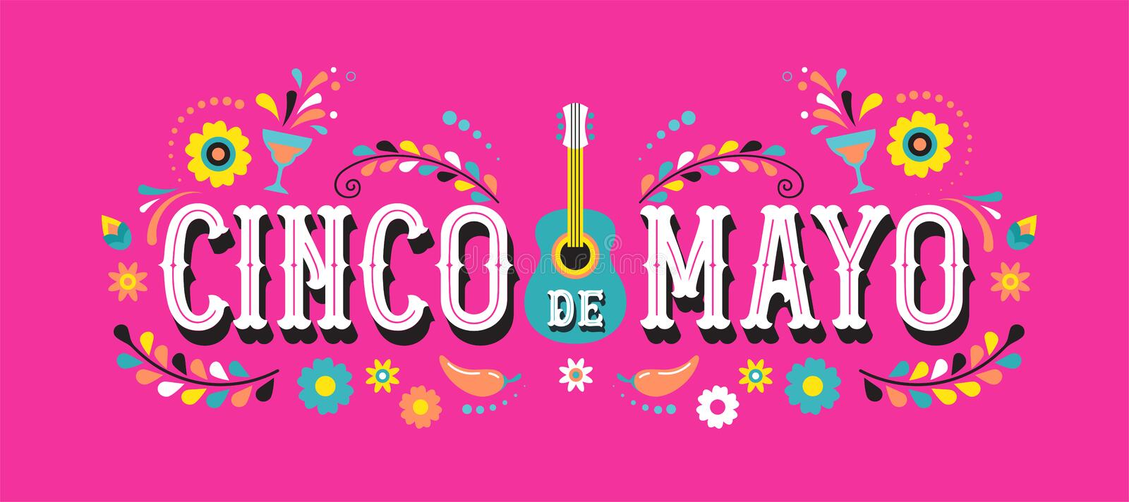 Cinco de Mayo - May 5, federal holiday in Mexico. Fiesta banner and poster design with flags. Flowers, decorations royalty free illustration