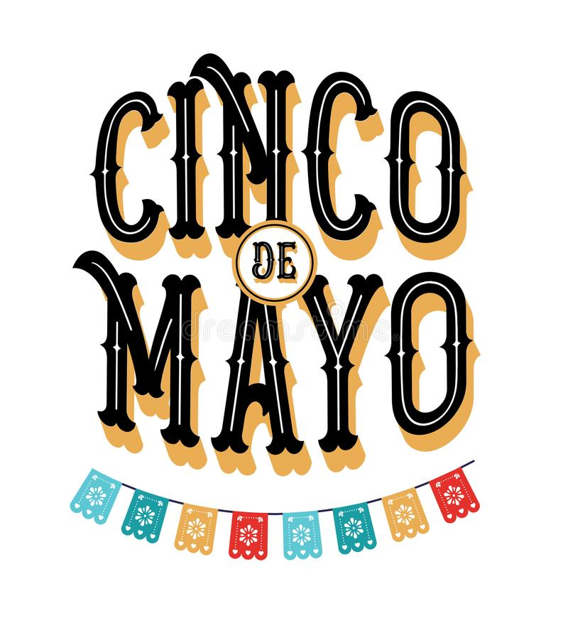 Cinco de Mayo - May 5, federal holiday in Mexico. Fiesta banner and poster design with flags vector illustration