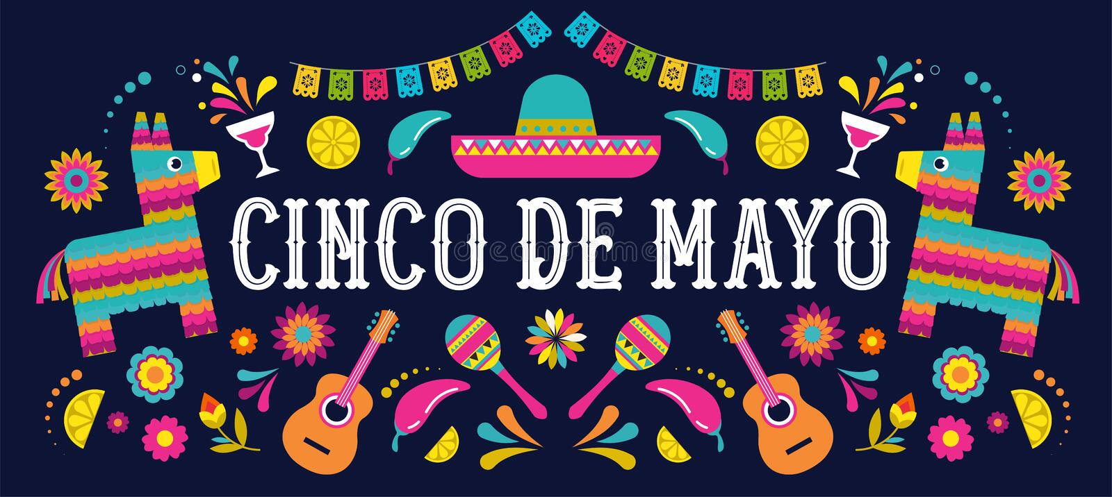 Cinco de Mayo - May 5, federal holiday in Mexico. Fiesta banner and poster design with flags, flowers, decorations. Cinco de Mayo - May 5, federal holiday in royalty free illustration
