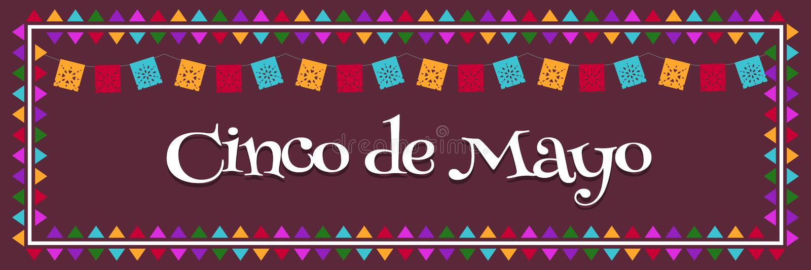 Cinco de Mayo - May 5 Mexico Federal Holiday Poster Banner with Flags Vector Illustration stock illustration