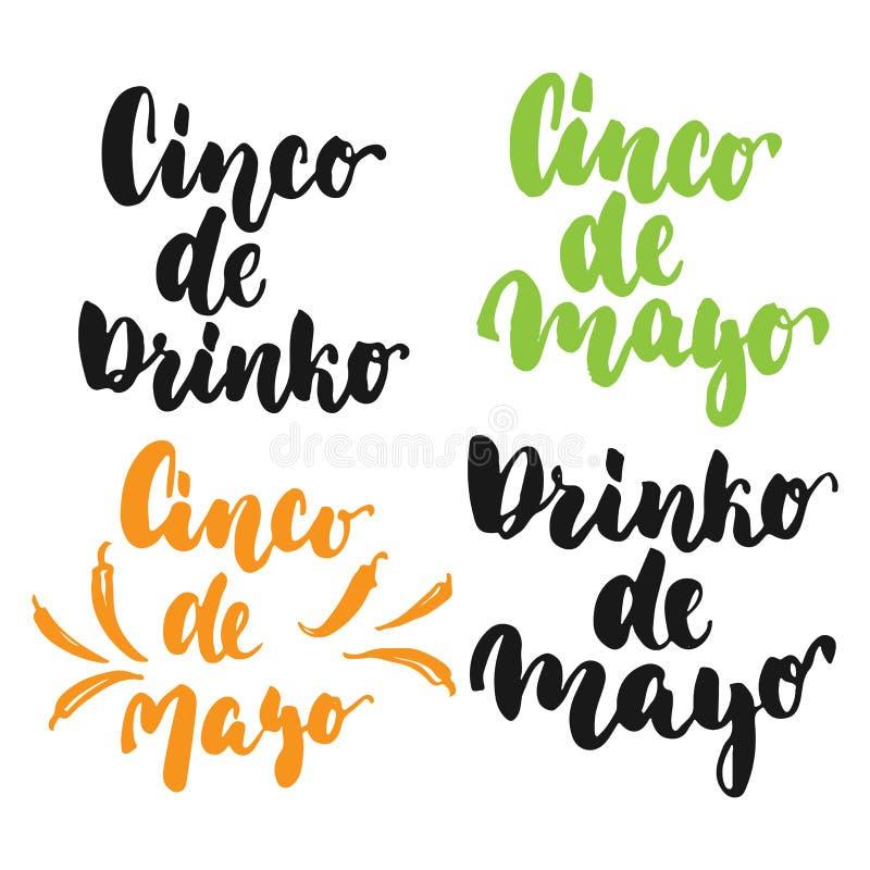 Cinco de Mayo meksykańska ręka rysujący literowanie frazuje set odizolowywającego na białym tle Zabawa atramentu szczotkarska ins ilustracji