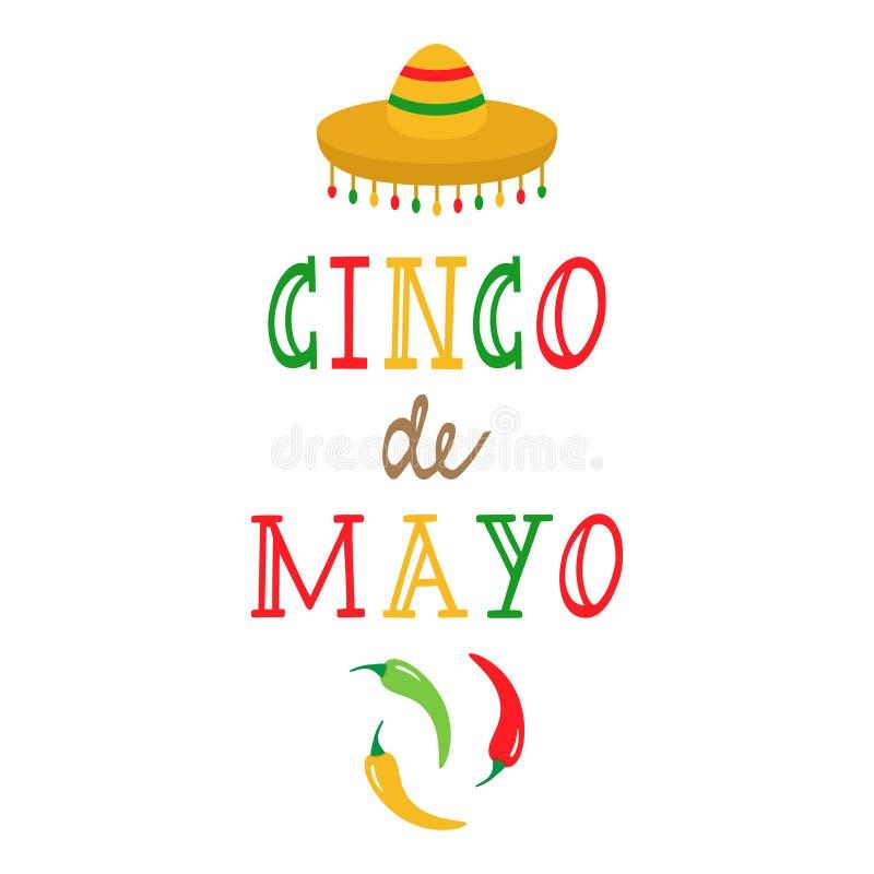 Cinco de Mayo, meksykańska wakacyjna wektorowa grafika