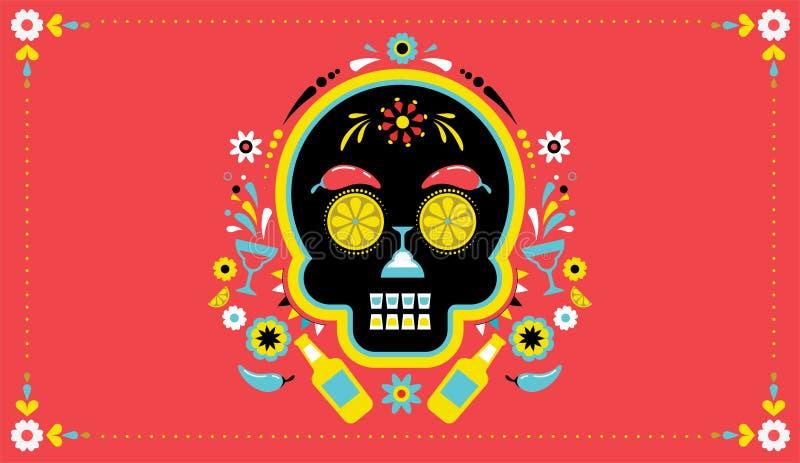 Cinco de Mayo, Meksykański fiesta, wakacyjny plakat, partyjna ulotka, kartka z pozdrowieniami royalty ilustracja