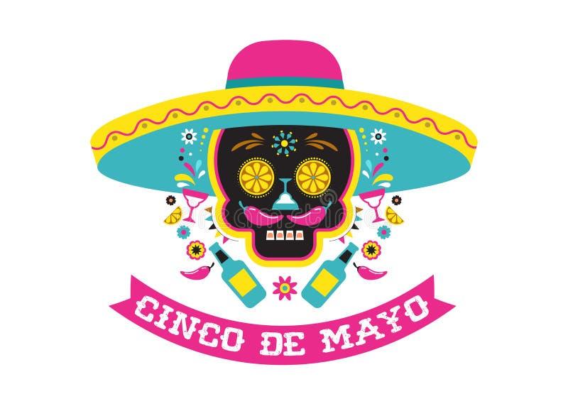 Cinco de Mayo, Meksykański fiesta, wakacyjny plakat, partyjna ulotka, kartka z pozdrowieniami