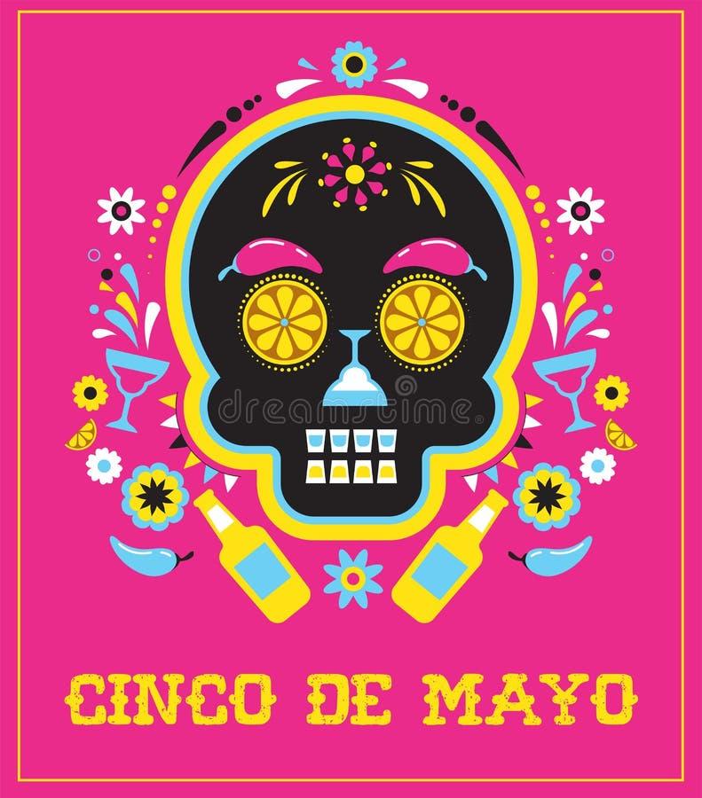 Cinco de Mayo, Meksykański fiesta, wakacyjny plakat, partyjna ulotka, kartka z pozdrowieniami ilustracji