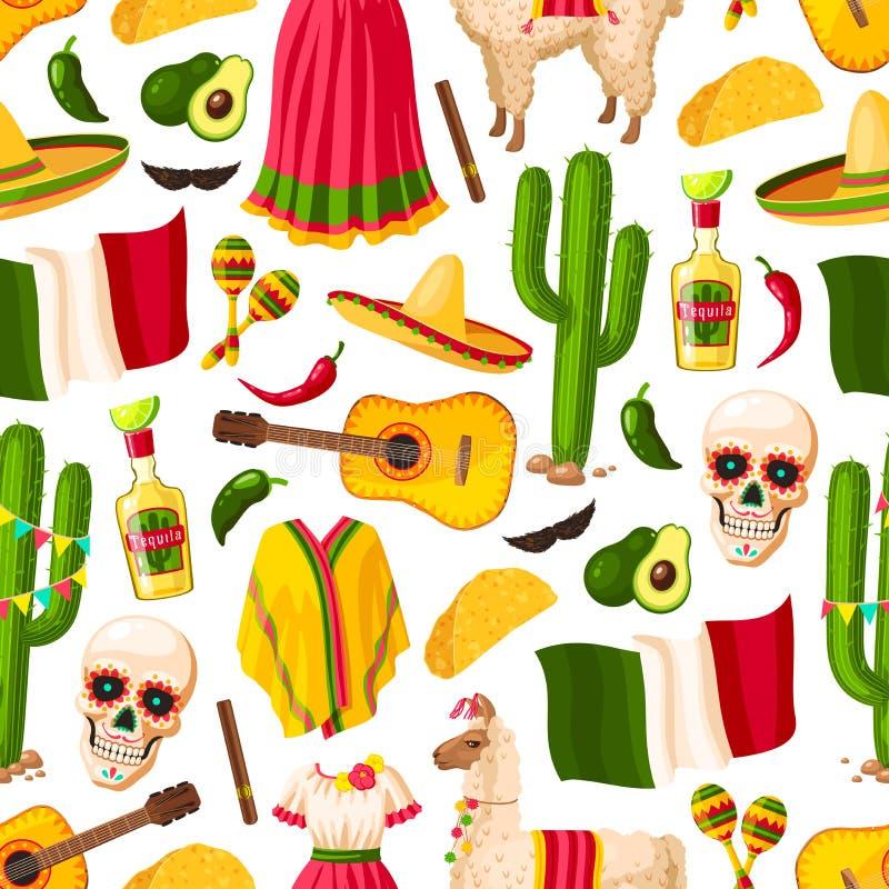 Cinco de Mayo meksykański wakacyjny bezszwowy wzór royalty ilustracja