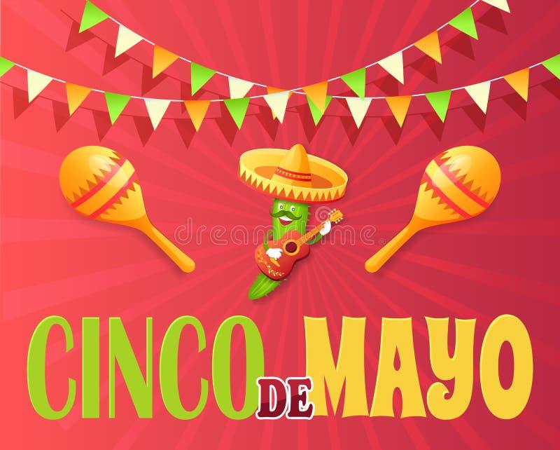 Cinco de Mayo Meksykański Wakacyjny plakat z ogórkiem ilustracja wektor