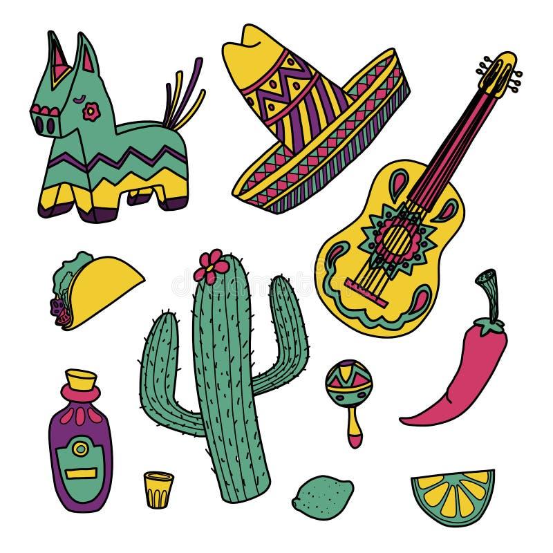 Cinco de Mayo meksykańskie ilustracje ustawiać