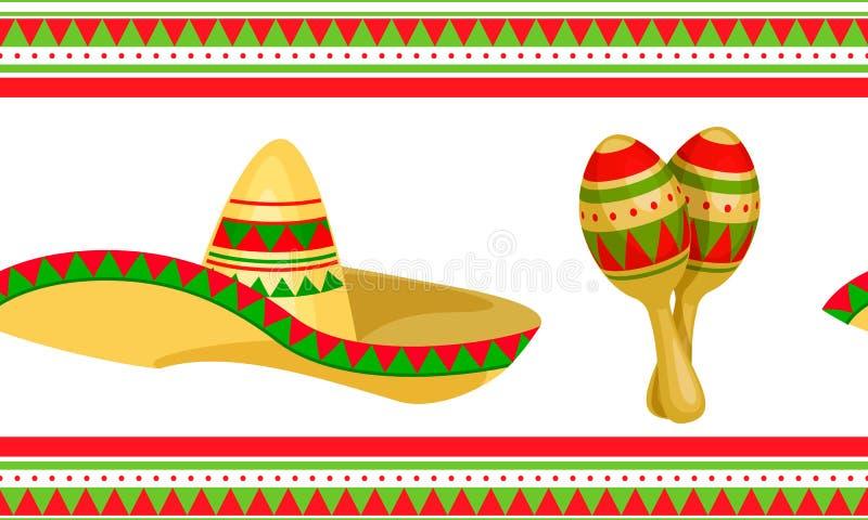 Cinco de Mayo Meksyka?ski ?wi?teczny Bezszwowy wz?r ilustracja wektor