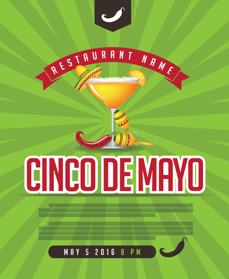 Cinco De Mayo-menu, affiche, uitnodiging, Web-pagina royalty-vrije illustratie