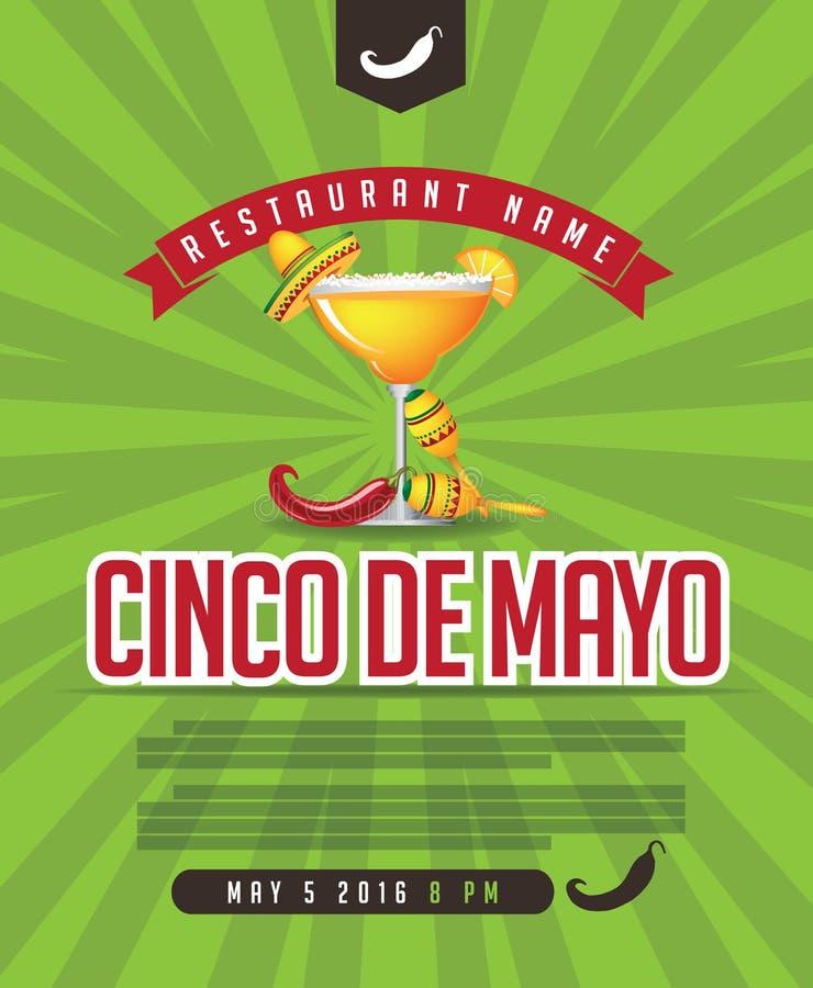 Cinco De Mayo meny, affisch, inbjudan, webbsida royaltyfri illustrationer