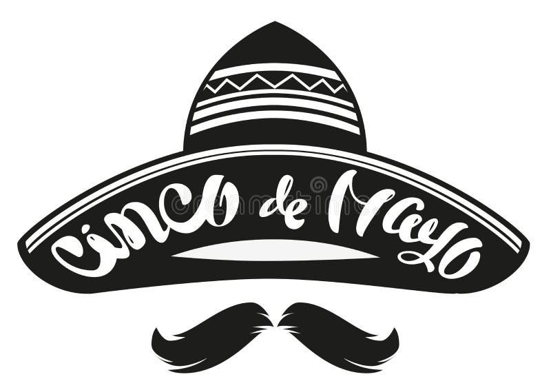 Cinco DE Mayo Mexicaanse breed brimmed hoedensombrero Van letters voorziende tekstkopbal voor groetkaart vector illustratie