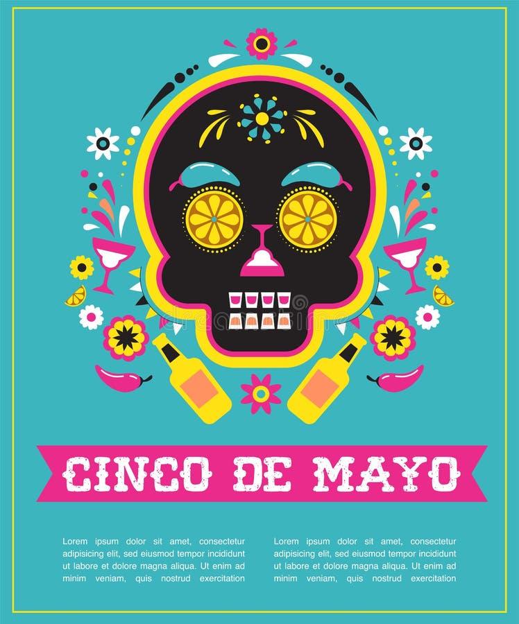 Cinco de Mayo, Mexicaanse fiesta, vakantieaffiche, partijvlieger, groetkaart vector illustratie