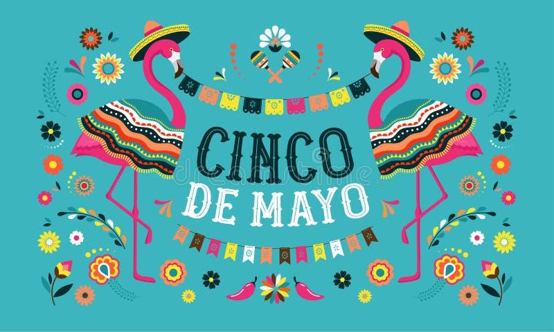 Cinco DE Mayo, Mexicaanse Fiestabanner en afficheontwerp met flamingo, bloemen, decoratie vector illustratie