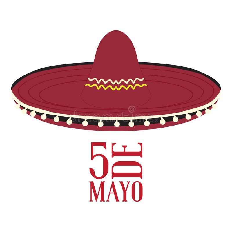 Cinco DE Mayo Mexicaanse hoed vector illustratie