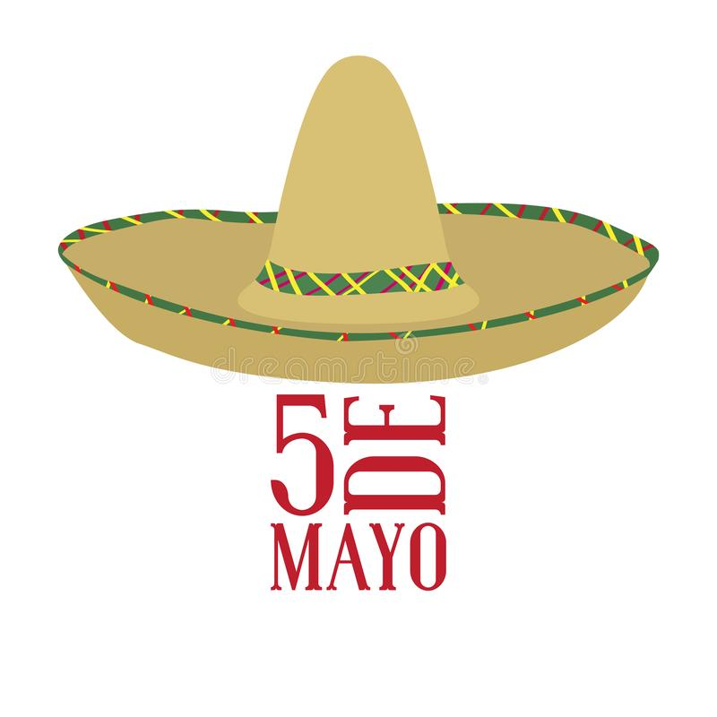 Cinco DE Mayo Mexicaanse hoed stock illustratie
