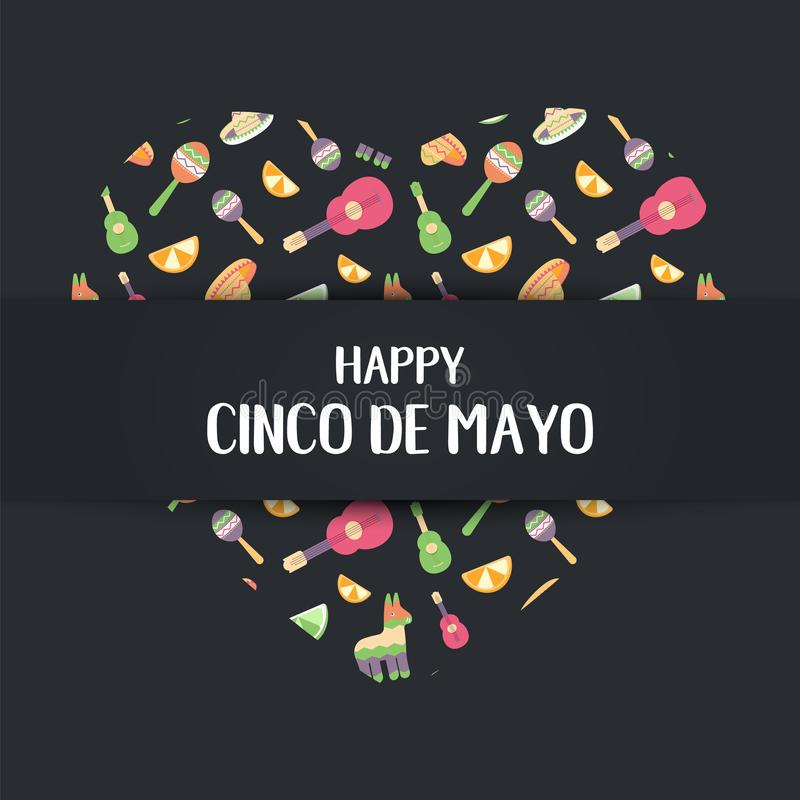 Cinco de Mayo Mexican card in a heart. Poster of Mexican culture symbols: maracas, pinata, fruit, hat, guitar. Cinco de. Cinco de Mayo Mexican festive banner in stock illustration