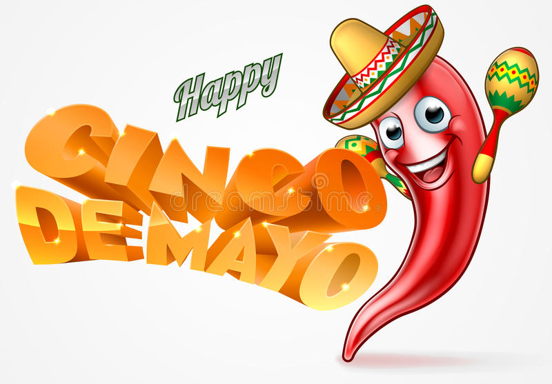 Cinco De Mayo Mexican Chilli Pepper-Ontwerp vector illustratie