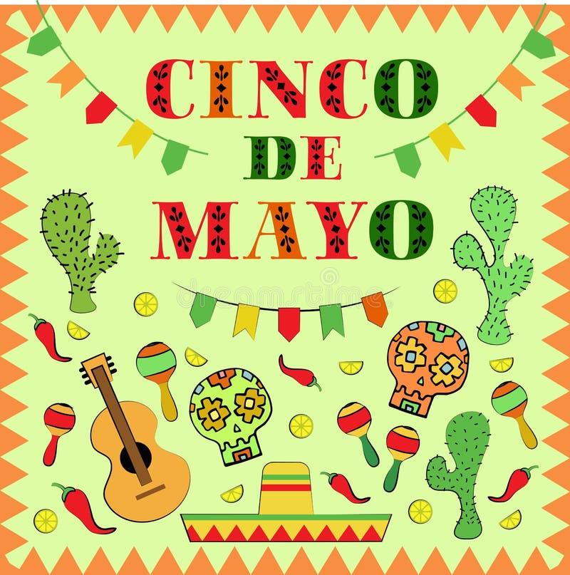 Cinco de Mayo Mexican ferieillustration vektor illustrationer