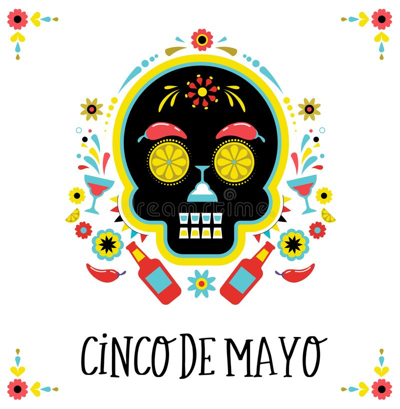 Cinco de Mayo, Mexican fiesta, holiday poster, party flyer, greeting card royalty free illustration