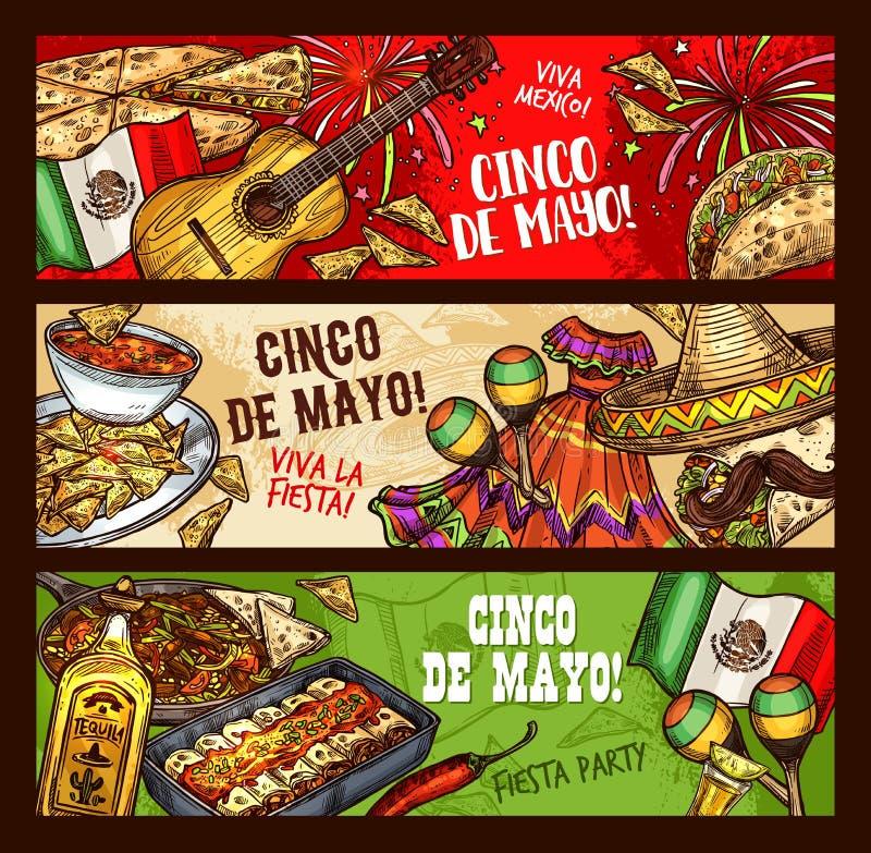 Cinco de Mayo Mexican-fiesta, Viva Mexico-partij stock illustratie