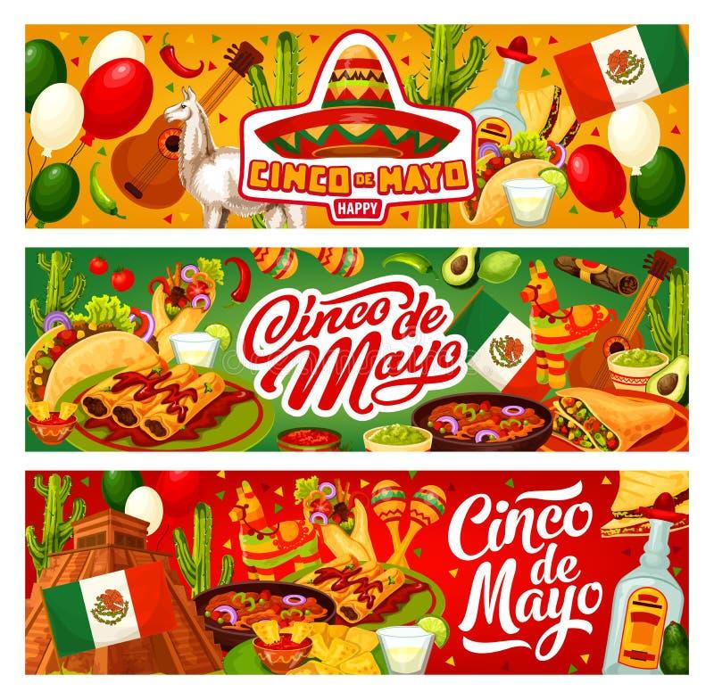 Cinco de Mayo Mexican flagga, sombrero och tequila stock illustrationer