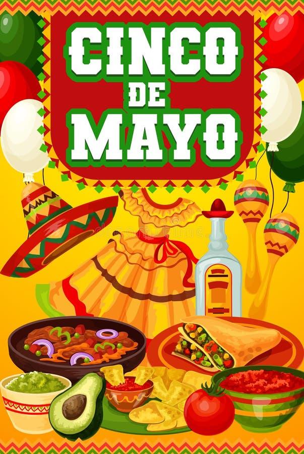Cinco de Mayo Mexican food, sombrero, maracas. Mexican holiday Cinco de Mayo festive food and drink vector design of fiesta party invitation. Tequila margarita stock illustration
