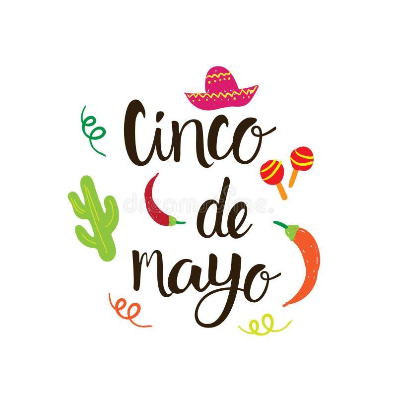 Cinco De Mayo Mexican Holiday Greeting-Kaarthand Getrokken Van letters voorziende Achtergrond vector illustratie