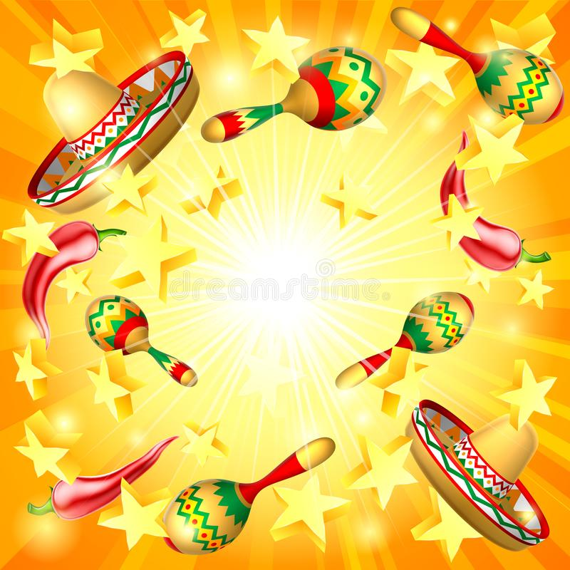 Cinco De Mayo Mexican Holiday Themed Background stock illustration