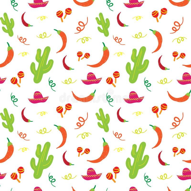 Cinco De Mayo Mexican Holiday Seamless modell med kaktuns, sombreron, Maracas och Chili Pepper stock illustrationer