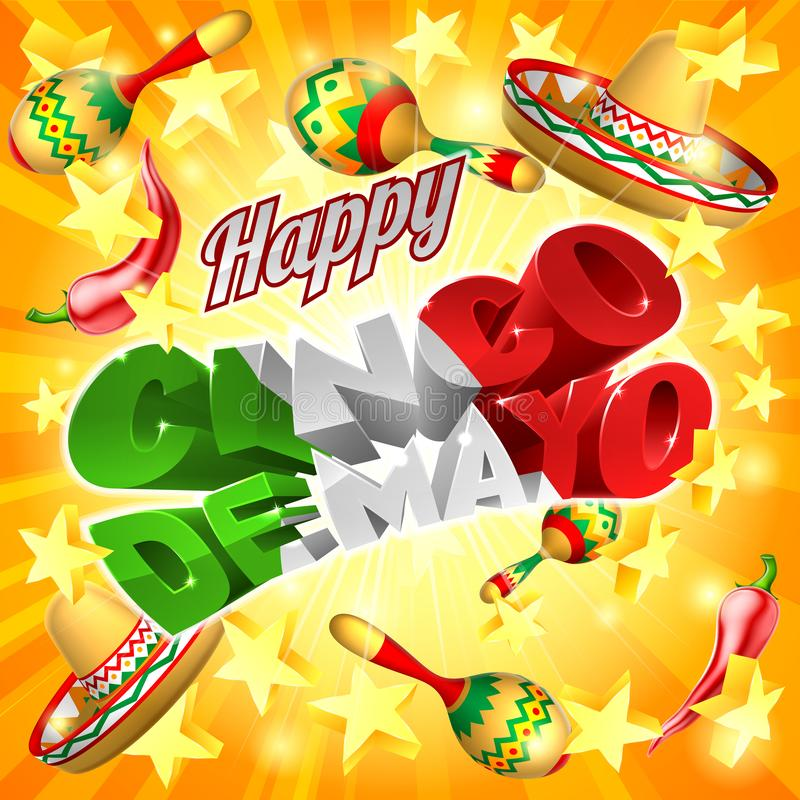 Cinco De Mayo Mexican Holiday Stars-Achtergrond stock illustratie